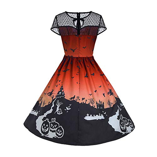 Feitong Damen Halloween Frauen Mesh Patchwork gedruckt Vintage Kleid ärmellos Party Kleid(EU-36/CN-M, Orange)