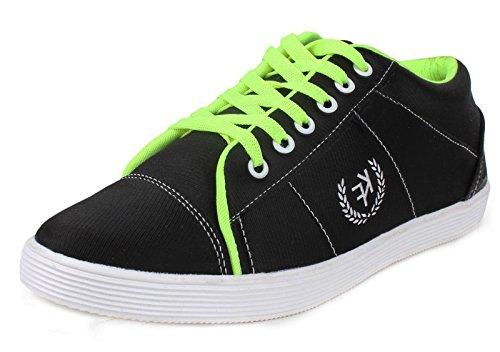 casual chaussures baskets pour hommes de conduite pantoufle d'orange lacer les chaussures en toile Noir et vert