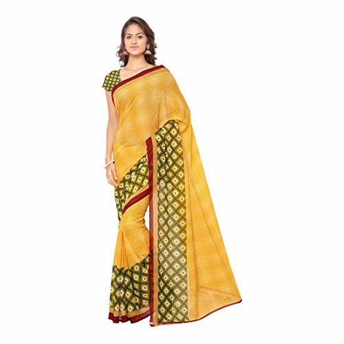 a7f3831f13 Indian Handicrfats Export Printed Daily Wear Georgette Saree (Yellow)