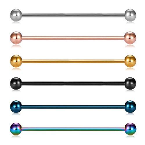 9d4d2e0993f6 Briana Williams 6 Stücke Industrial Piercing Stab Knorpel Edelstahl Barbell  Piercing Schmuck 14Gauge 38mm