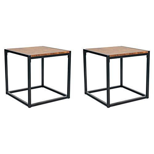 Harbor Haushalt Zeitgenössisch Industrienachttisch - Dunkles Holz/Stahl-Rahmen - Inhalt: 2 Stück