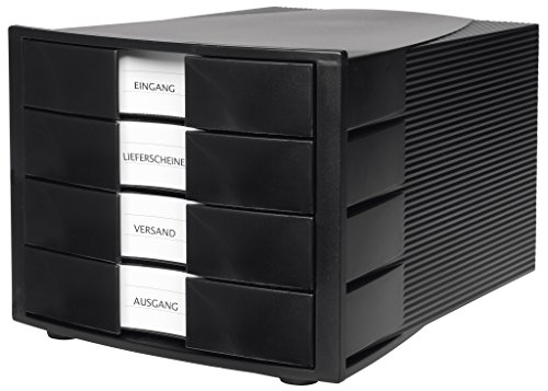 Han Schubladenbox IMPULS 1010-X-13 in Schwarz/Stapelbare Sortierablage mit 4 großen, geschlossenen...