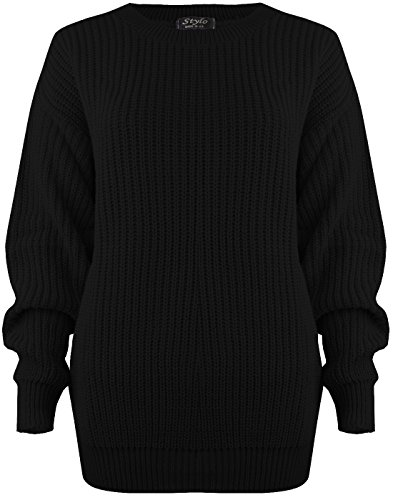 SA Fashions® Oversized New Ladies Womens Chunky Baggy Jumper Knitted Sweater Thick Top S-XL 8-18 (S/M (8-10), Black)
