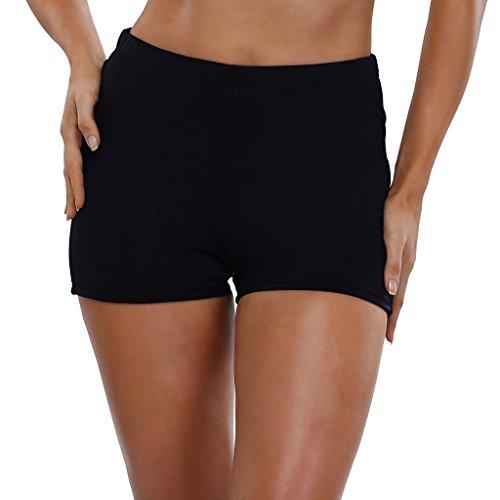 CharmLeaks Damen Bikinihose High Waist Tankinihose Hotpants Badehose Basic Schwarz