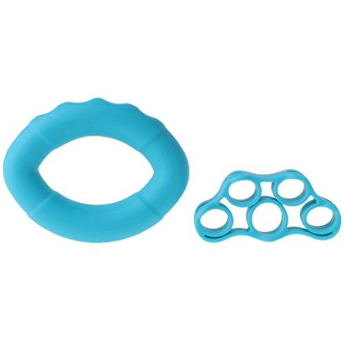 Keahup Kofun Hand Grip Ring Finger Stretcher 2 Stück/Set Silikon Handgriff Stärker Finger Stretcher Hand Grip Ring - königsblau