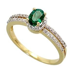 Revoni 14ct Gold Ring, w/ 0.67 Total Carat Brilliant Cut Diamonds & Oval Cut 6x4mm Emerald Stone, 1/4 in. (6mm) wide, Size L