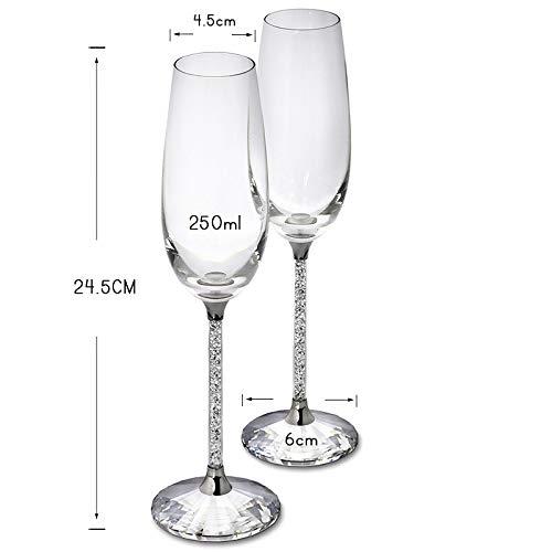 LAJIXIAOBAI Hochzeit Gläser personalisierte Champagner Flöten kristalline Party Geschenk Toasten Glas Becher Kristall Gravur Jubiläum