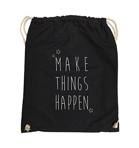 Comedy Bags - MAKE THINGS HAPPEN - Turnbeutel - 37x46cm - Farbe: Schwarz / Pink Schwarz / Silber