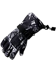 Arcweg guantes de invierno para niños y adultos guantes de esquí cortavientos forrados de felpa de nieve ciclismo Negro y gris S (7-8 años)