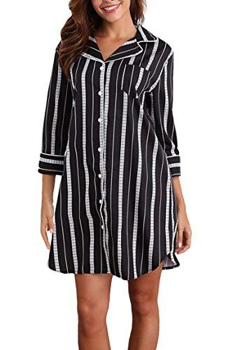 Giorzio Damen Nachthemd Knopfleiste Baumwolle Sleepshirt Kurzarm V-Ausschnitt Nachtwäsche Schlafanzugoberteil mit Brusttasche (Schwarz,L)