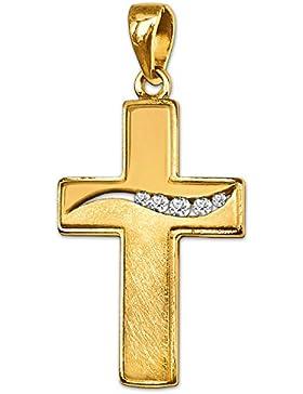 CLEVER SCHMUCK Goldener Anhänger Kreuz 20 mm mit 5 Spannzirkonias wellenförmig angeordnet, oben glänzend und unten...