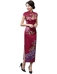 ACVIP retrò Migliorato Cheongsam Lungo Vestito Aderente Stile Cinese 6c3a5332617