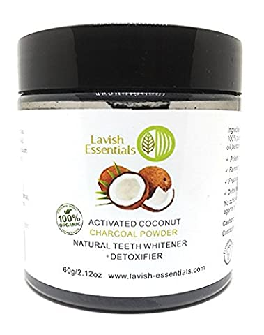 Lavish Essentials - Natural Activated Food Grade Teeth Whitening Charcoal - With Organic Coconut Activated Charcoal And Bentonite - 100% FDA Approved - 60g - LARGE SIZE.