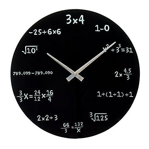 Mathe Wanduhr in schwarz - mathematische Formeln