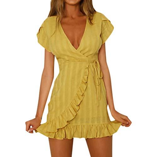 Abendkleider Kleider Frauen Sommerkleider Damen Lang Kleid Spitze Lila Schwarz Weiß Rock Sommer Röcke Chiffon A Linien Elegante Rockabilly Boho Jeans Blaues Schwarze (Gelb)
