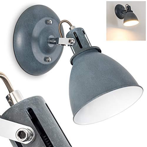 Lampada da parete koppom in metallo grigio-blu - applique murale da interno per corridoio - soggiorno - camera da letto - lo spot è orientabile e girevole