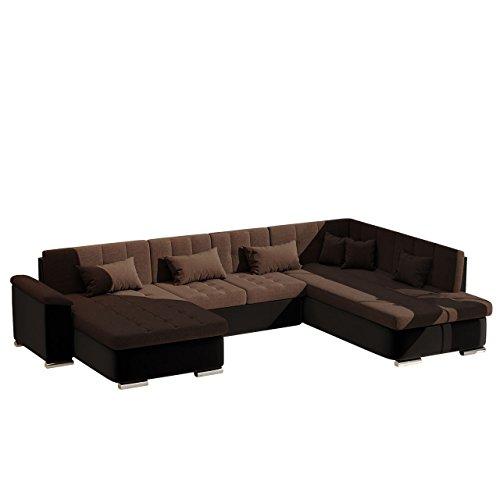 Mirjan24  Eckcouch Ecksofa Niko Bis! Design Sofa Couch! mit Schlaffunktion und Bettkasten! U-Sofa Große Farbauswahl! Wohnlandschaft vom Hersteller (Ecksofa Rechts, Soft 011 + Dot 25)