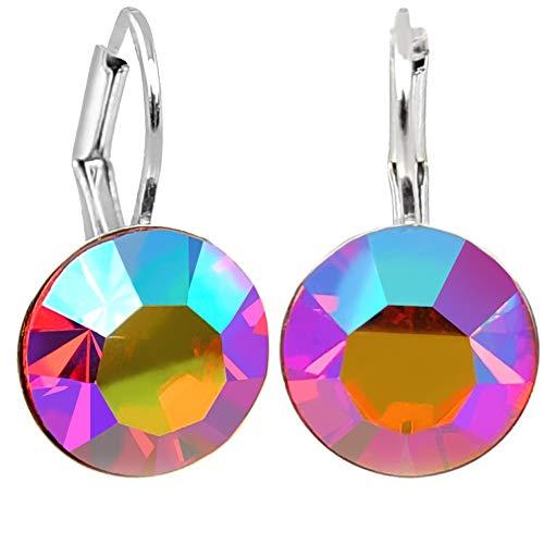 Damen-Ohrringe Pink Silber mit Kristallen von Swarovski® Light Siam Shimmer NOBEL SCHMUCK - Schmuck Ohrringe Kleine