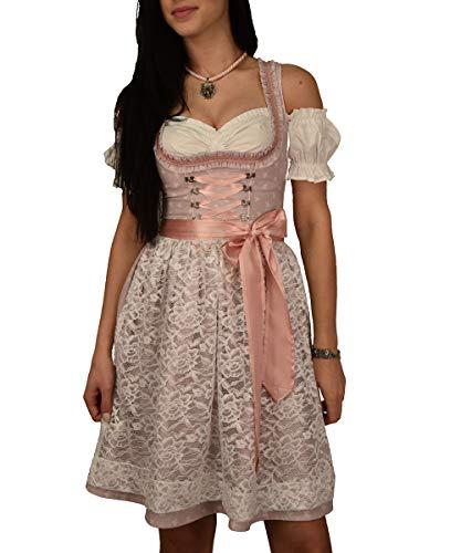 Golden Trachten-Kleid Dirndl 3 TLG Set, Damen Midi für Oktoberfest, Pastelviolett mit Schleifchen Muster,...