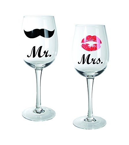 Out of the blue 78/7862 Weinglas mit Kussmund und Schnurrbartdekor, Mr und Mrs, circa 430 ml, Höhe 22,5 cm, 2 er Set in PVC Box