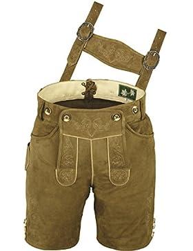 Bayerische Trachten Lederhose Herren kurz, Damen Trachtenlederhose aus echt Leder Wildbock mit Träger in Beige