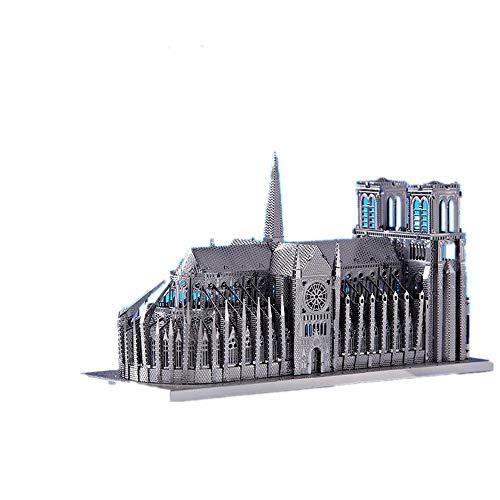Notre Dame Building Metall montiertes 3D-Modell für Kinder/Erwachsene 11.5 * 4.5 * 7CM Silver+tool A+B