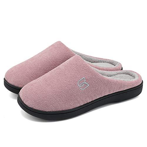 Herren Damen Hausschuhe Pantoffeln Baumwolle Plüsch Wärme Weiche Herbst und Winter Kuschelige Home Rutschfeste Slippers(Rosa,36 37) (Baumwolle Hausschuhe Für Frauen)