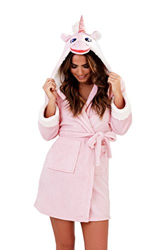Dannii Matthews Cute and Cuddly, Ladies, Kids, Girls Novelty Flannel Fleece Unicorn Hooded Robe, Dressing Gown With Face and Horn, Ages 3-10, Adult XS-XL