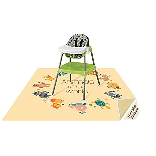 LUZHIWEI 51 Zoll Splat Matte für Unter Hochstuhl / Kunst / Handwerk Wo Baby Waschbar Spill Matte Wasserdicht rutschfeste Boden Splash Matte Tragbare Spielmatte@Wunderbare Tiere