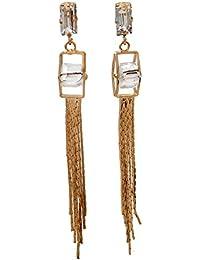 THE BLING STUDIO - Long Chain Dimond Studded Tassel Fringe Earrings (BS7E2)