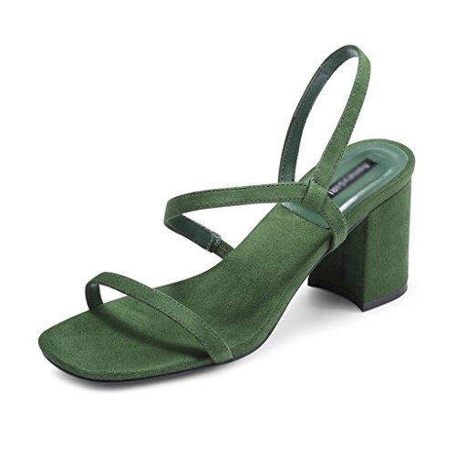 ZCJB Sandales Grossier Heel Chaussures Sandales Femelle D'été Saison Sauvage Chaussures À Talons Mi-Talon Un Mot Déduction Sandales Chaussures À Bout Ouvert