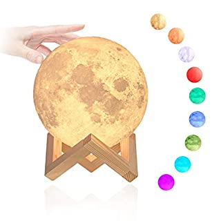 Moon Night Light, Dreamiracle LED Rechargeable 3D Moon Lamp 5.1inch/13cm for Children Kids Baby Toddler Girls Boys Adults, Warm & Cool White, Stepless Dimmable Brightness
