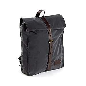 PROPERTY OF…® Mitch Backpack | Laptop-Rucksack | Hightech-Material | reflektiert ohne Silberfärbung | wasserdicht | personalisierbarer Lederpatch | schwarz dunkel braun (Night/Dark Brown)