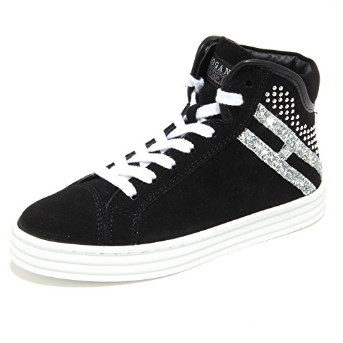 8442M HOGAN REBEL scarpe bimba sneaker shoes kids nero Nero/Argento