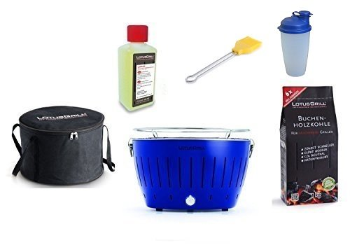 LotusGrill Starter-Set 1x Ultramarinblau (Sonderfarbe Limited-Edition) 1x Buchenholzkohle 1kg, 1x Brennpaste 200ml, 1x Marinierpinsel Gelb 1x Shaker 1x Transport-Tasche – Der raucharme Holzkohlegrill