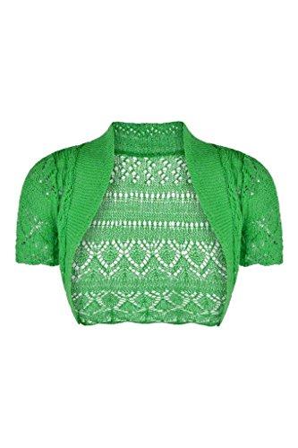 Fast Fashion - Haussement Manches Courtes Tricoté Haut Boléro Crocheter Cardigan - Femmes Vert