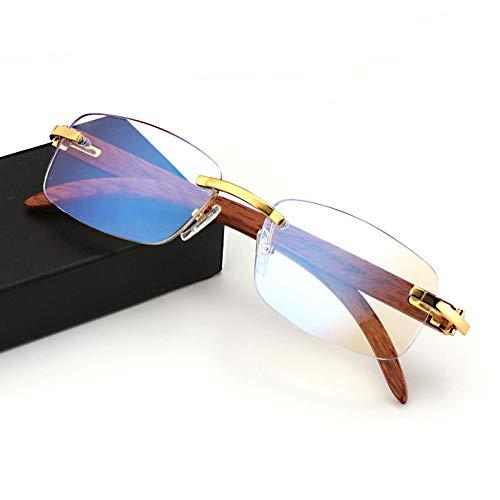 Eyetary Handgemachte Holz Tempel Rahmenlos Multifokale Progressive Lesebrille Blaulichtfilter für Männer Frauen Business Rechteckige Designer Brillen Frame mit Sehstärke,Gold,+1.50