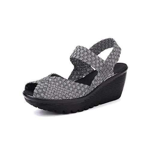 Women Summer Shoes Women Woven Flat Wedge Platform Sandals Ladies Flip Flops Ankle Strap Middle Heel Slingback Sandals 533 Gray 4