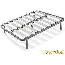 Hogar24.es-Somier laminas madera haya vaporizadas con tacos anti-ruido, tubo de acero 40 x 30 , con juego de 5 patas roscadas incluido de altura 32cm-135X190