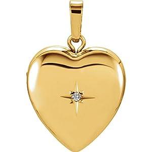 14ct Gelb Gold Herz Medaillon/Medallion Anhänger mit Diamanten, Blatt-Motiv