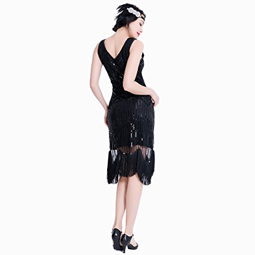 1920er Flapper Kleid Art Deco Frauen Great Gatsby V Ausschnitt ...