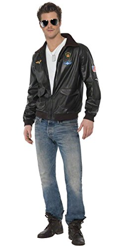 Herren Top Gun Bomber Jacke TV Film 80s 1980er Hirsch Do RAF Aviator Air Force Kostüm, M-L