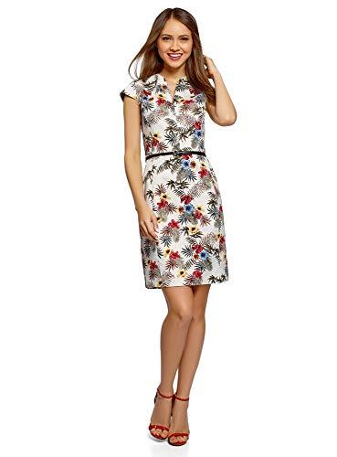 oodji Collection Damen Etui-Kleid mit Gürtel, Mehrfarbig, DE 42 / EU 44 / XL