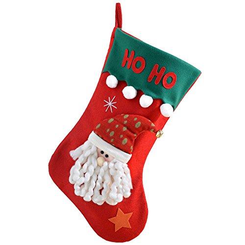 Werchristmas - calza di natale con decorazione 3d a forma di babbo natale e scritta ho ho ho, 52 cm, bianco rosso/bianco/verde