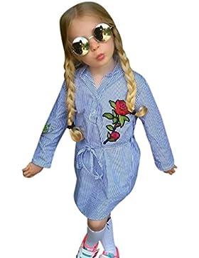 Omiky® Kleinkind Baby Kinder Mädchen Blume Rose Stripe Prinzessin Gürtel Kleid Kleidung Outfits