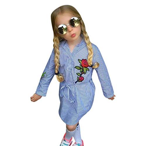 Omiky® Kleinkind Baby Kinder Mädchen Blume Rose Stripe Prinzessin Gürtel Kleid Kleidung Outfits (100/3Jahr, Blau)