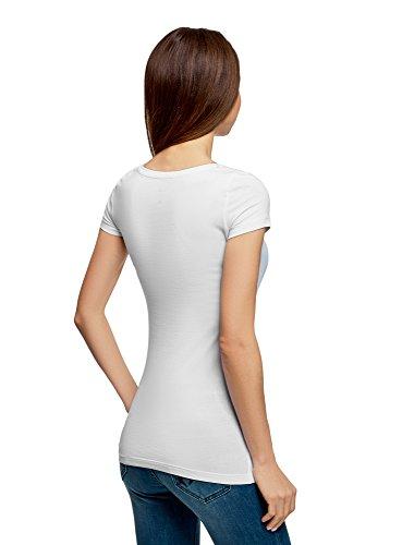 oodji Ultra Donna T-Shirt Basic Aderente (Pacco di 3) Bianco (1000N)