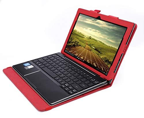 ISIN Tablet Fall Serie Premium PU-Leder Schutzhülle für Lenovo Ideapad MIIX 310 10,1 Zoll Windows 10 Convertible 2 in 1 Tablet PC mit Handschlaufe und Kartenschlitz (Rot)