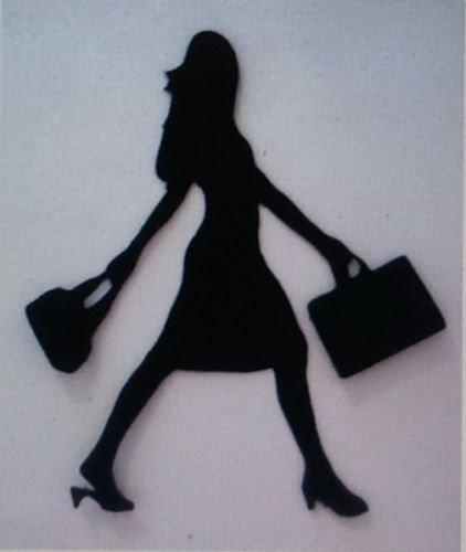 5X Lady Woman Shoppping Sac Sac à main Silhouette Die Cuts formes Noir carte
