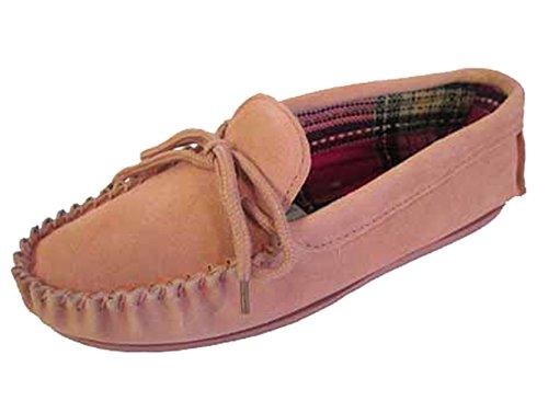 Lodgemok femme en daim Motif Tartan chaussettes chaussons Taille 3 4 5 6 7 8 Rose - rose